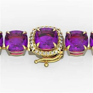 46 ctw Amethyst & Micro Pave Diamond Bracelet 14k