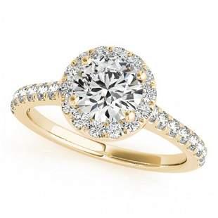 1.4 ctw Certified VS/SI Diamond Halo Ring 14k Yellow