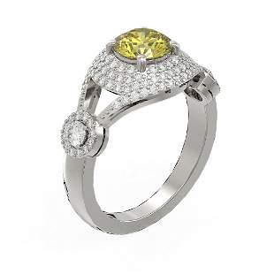 2.18 ctw Fancy Yellow Diamond Ring 18K White Gold -