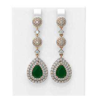 11.87 ctw Emerald & Diamond Earrings 18K Rose Gold -