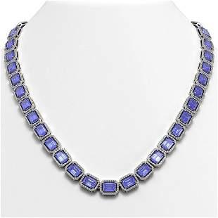 56.69 ctw Tanzanite & Diamond Micro Pave Halo Necklace