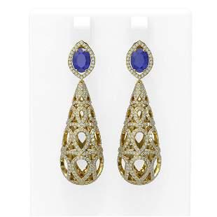 7.82 ctw Sapphire & Diamond Earrings 18K Yellow Gold -
