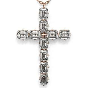 2.5 ctw Emerald Cut Diamond Cross Necklace 18K Rose
