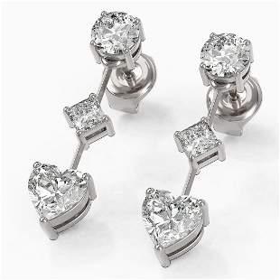 1.85 ctw Heart Diamond Designer Earrings 18K White Gold
