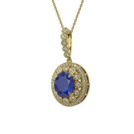 8.66 ctw Sapphire & Diamond Victorian Necklace 14K