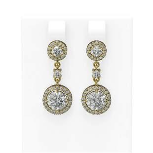 3.35 ctw Diamond Earrings 18K Yellow Gold - REF-617H5R