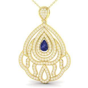 2 ctw Tanzanite & Micro Pave VS/SI Diamond Necklace 18k