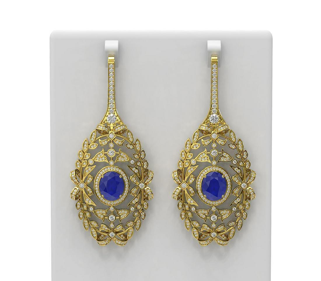 18.58 ctw Sapphire & Diamond Earrings 18K Yellow Gold -