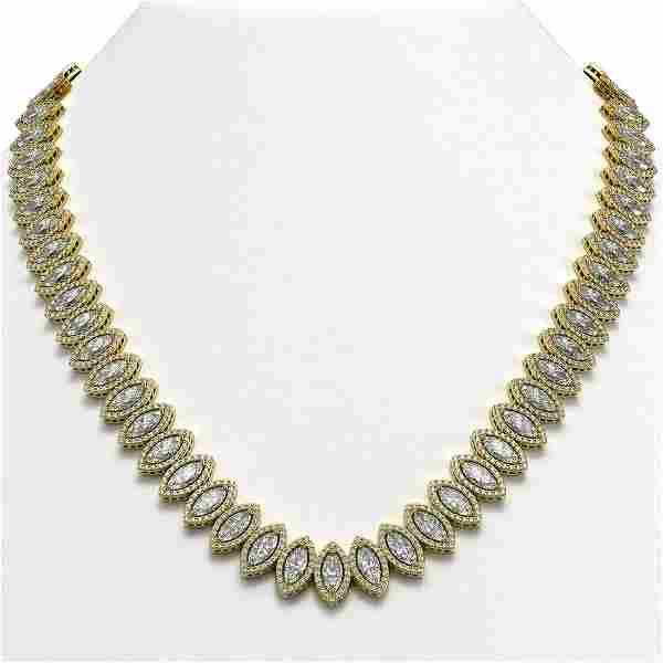 39.68 ctw Marquise Cut Diamond Micro Pave Necklace 18K