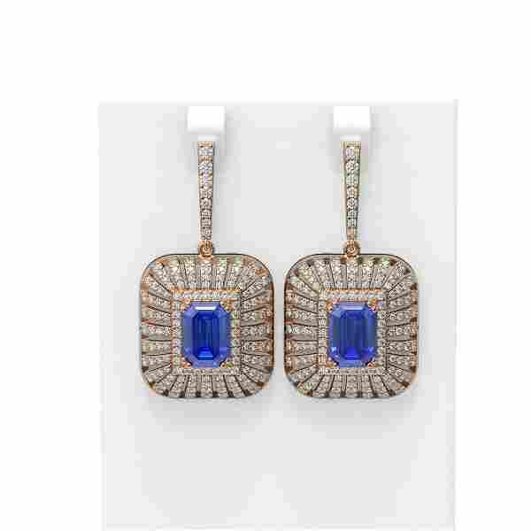 14.23 ctw Tanzanite & Diamond Earrings 18K Rose Gold -