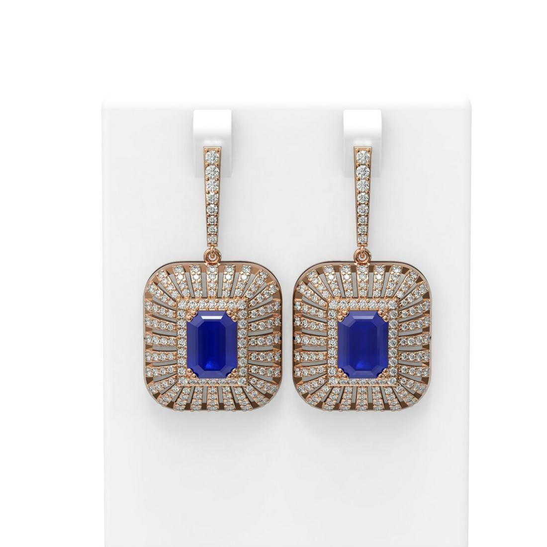 16.73 ctw Sapphire & Diamond Earrings 18K Rose Gold -
