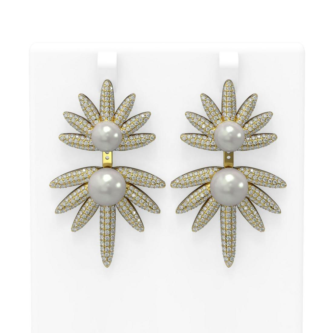 8 ctw Diamond & Pearl Earrings 18K Yellow Gold -