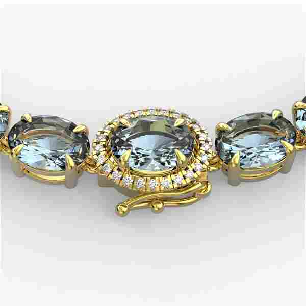 90 ctw Sky Blue Topaz & VS/SI Diamond Micro Necklace