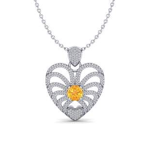 3 ctw Citrine With Micro Pave Diamond Heart Necklace