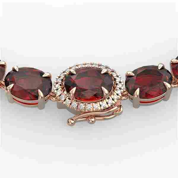 45.25 ctw Garnet & Diamond Eternity Micro Necklace 14k