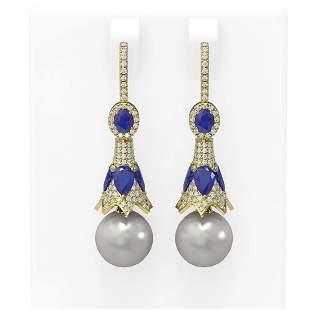 6.8 ctw Sapphire & Diamond Earrings 18K Yellow Gold -