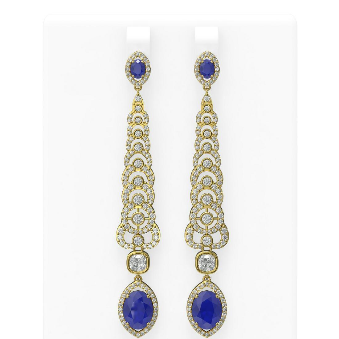 9.18 ctw Sapphire & Diamond Earrings 18K Yellow Gold -