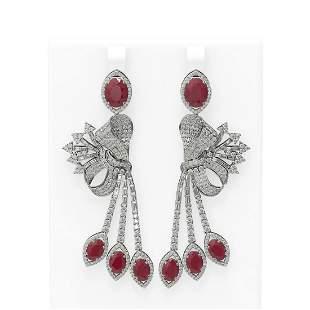 19.89 ctw Ruby & Diamond Earrings 18K White Gold -