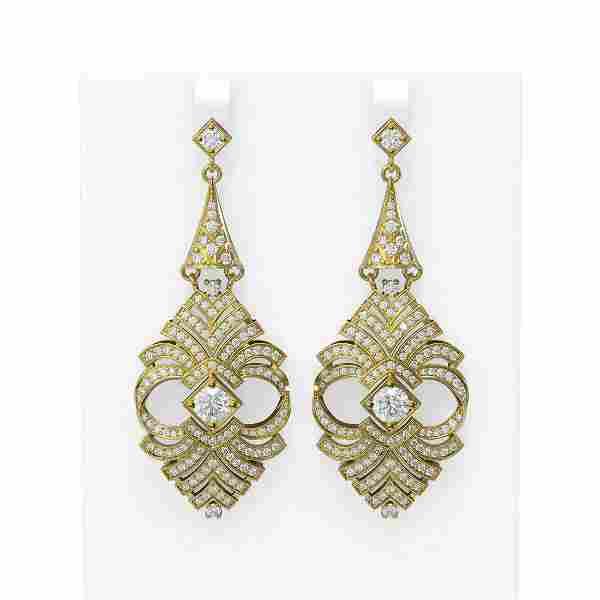 6.56 ctw Diamond Earrings 18K Yellow Gold - REF-842W5H