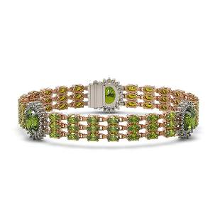 29.33 ctw Tourmaline & Diamond Bracelet 14K Rose Gold -