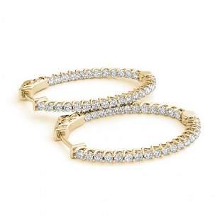 3.65 ctw Diamond VS/SI 40 MM Hoop Earrings 14k Yellow