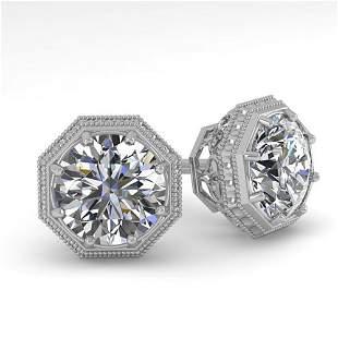1.53 ctw Certified VS/SI Diamond Stud Earrings Art Deco