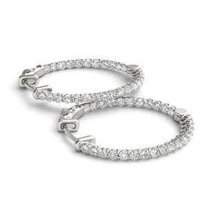 2.5 ctw Diamond VS/SI 20 MM Hoop Earrings 14k White