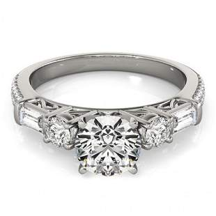 2 ctw Certified VS/SI Diamond Pave Solitaire Ring 14k