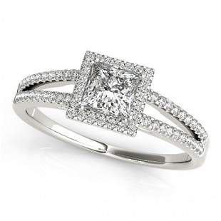 1.1 ctw Certified VS/SI Princess Diamond Halo Ring 14k