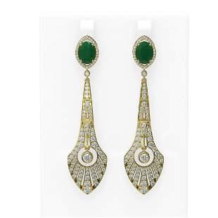 9.69 ctw Emerald & Diamond Earrings 18K Yellow Gold -