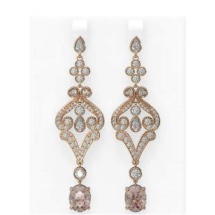 9.85 ctw Morganite & Diamond Earrings 18K Rose Gold -