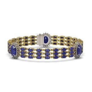 32.98 ctw Sapphire & Diamond Bracelet 14K Yellow Gold -
