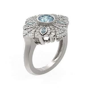 2.32 ctw Aquamarine & Diamond Ring 18K White Gold -
