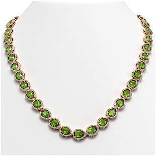 33.35 ctw Peridot & Diamond Micro Pave Halo Necklace