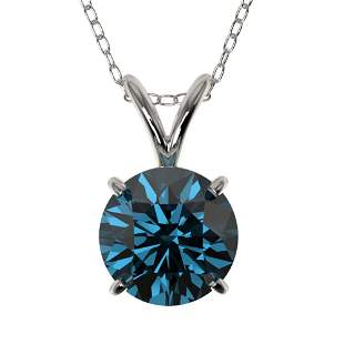 1.29 ctw Certified Intense Blue Diamond Necklace 10k