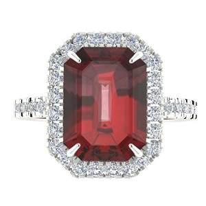 6.03 ctw Garnet & Micro Pave VS/SI Diamond Ring 18k