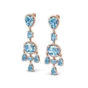 16 ctw Sky Blue Topaz Earrings Designer Vintage 10k