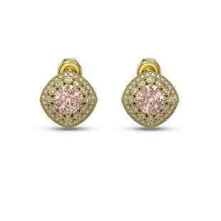 4.19 ctw Morganite & Diamond Victorian Earrings 14K