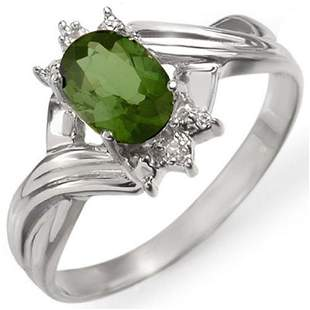 0.79 ctw Green Tourmaline & Diamond Ring 18k White Gold