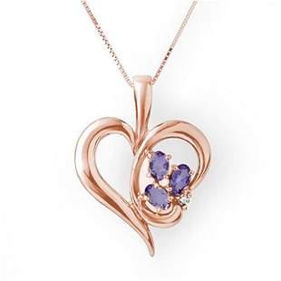 0.80 ctw Tanzanite & Diamond Pendant 10k Rose Gold -