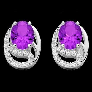 2.50 AMEHYST & Micro Pave VS/SI Diamond Stud Earrings