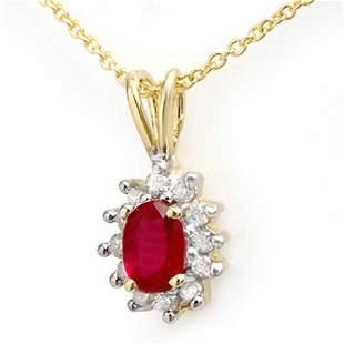 0.51 ctw Ruby & Diamond Pendant 10k Yellow Gold -