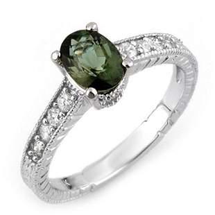 1.25 ctw Green Tourmaline & Diamond Ring 14k White Gold