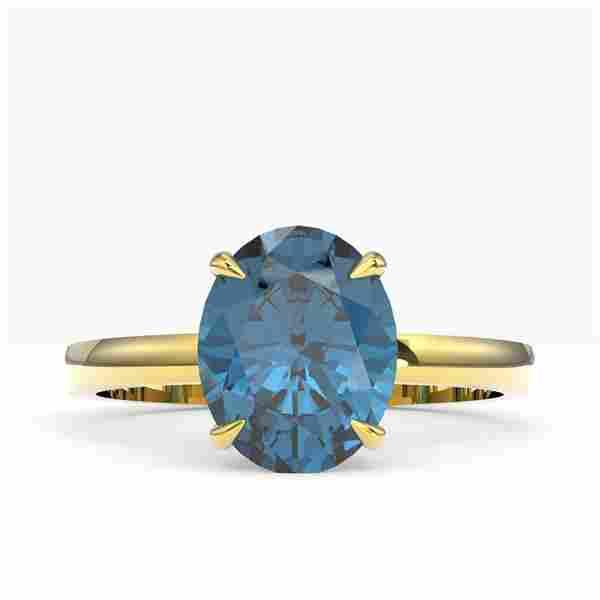 3.50 ctw London Blue Topaz Designer Solitaire Ring 18k