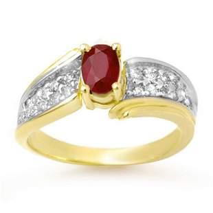 1.43 ctw Ruby & Diamond Ring 10k Yellow Gold -