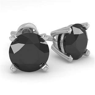 1.0 ctw Black Diamond Stud Designer Earrings 18k White