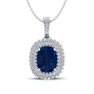 3.15 ctw Sapphire & Micro Pave VS/SI Diamond Necklace