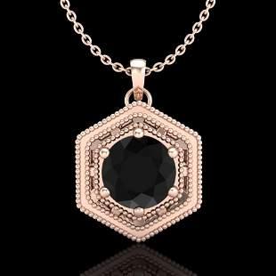 0.76 ctw Fancy Black Diamond Art Deco Stud Necklace 18k