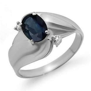 1.08 ctw Blue Sapphire & Diamond Ring 14k White Gold -