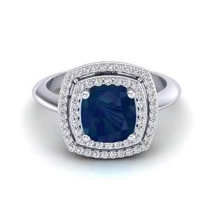 2.52 ctw Sapphire & Micro VS/SI Diamond Pave Ring 18k